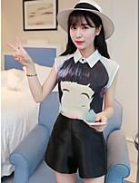 Women's Casual/Daily Simple Summer Shirt Pant Suits,Print Shirt Collar Sleeveless