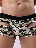 Men's Micro-elastic Solid Boxers Underwear Medium,Cotton Polyester 1pc Gray Green Blue