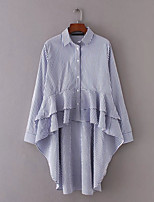 Damen Solide Gestreift Sexy Einfach Street Schick Ausgehen Lässig/Alltäglich Hemd,Hemdkragen Sommer Langarm Baumwolle Dünn Mittel