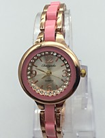 Women's Bracelet Watch Chinese Quartz Alloy Band Sparkle Casual Rose Gold
