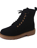 Women's Boots Combat Boots Fabric Fall Casual Dress   Flat Heel Khaki Black 1in-1 3/4in