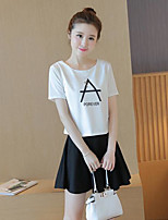 Women's Casual/Daily Simple Summer T-shirt Skirt Suits,Characters Round Neck Short Sleeve