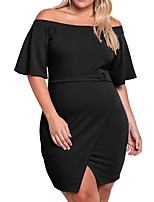 Women's Plus Size Casual/Daily Work Simple Shift Sheath Dress,Solid V Neck Mini Above Knee Short Sleeves Polyester All Seasons Low Rise