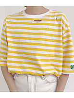 Women's Casual/Daily Simple T-shirt,Striped Print Round Neck Short Sleeves Cotton