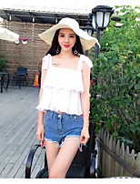 Women's Casual/Daily Simple Summer T-shirt Pant Suits,Solid Strap Sleeveless