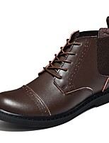 Men's Oxfords Walking Combat Boots Leather Fall Winter Casual Lace-up Low Heel Coffee Black Flat
