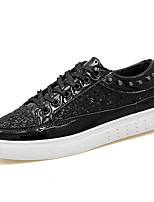 Men's Sneakers Comfort PU Spring Fall Casual Lace-up Flat Heel Silver Black Gold Flat