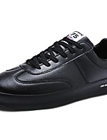 Men's Sneakers Comfort Spring Fall PU Casual Lace-up Flat Heel Black White Flat