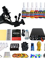Solong Tattoo New Beginner 1 Pro Tattoo Machine Kit Power Supply Needle Grips tip 7 color ink set TK105-37