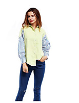 Women's Work Simple Shirt,Solid Striped Color Block Shirt Collar Long Sleeves Cotton