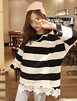 Women's Casual/Daily Simple T-shirt,Striped Round Neck 3/4 Length Sleeves Cotton Others