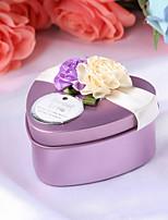 10 Porta-bomboniera-A cuore Tessuto Metallo Bomboniere scatole Vasi e bottiglie per dolci