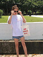Women's Going out Casual/Daily Simple Summer T-shirt,Solid Round Neck Short Sleeves Cotton Thin