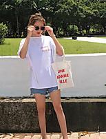 Для женщин На выход На каждый день Лето Футболка Круглый вырез,Простое Однотонный С короткими рукавами,Хлопок,Тонкая