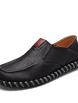 cheap -Men's Shoes Leatherette Spring Summer Comfort Loafers & Slip-Ons for Casual Dark Brown Black