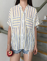 Women's Casual/Daily Simple Shirt,Striped Shirt Collar Short Sleeves Others