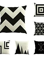 Set Of 6 Black & White Geometry Stripe Pillow Cover Sofa Cushion Cover Cotton/Linen Pillow Case