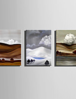 Mini Size E-HOME Oil painting Modern Clouds In The Valleys Pure Hand Draw Frameless Decorative Painting Set of 3