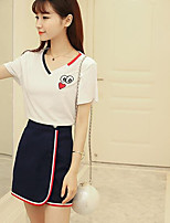 Women's Casual/Daily Cute Summer T-shirt Skirt Suits,Solid Round Neck Short Sleeve