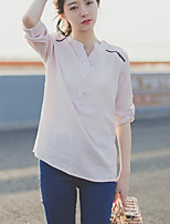 Women's Casual/Daily Simple Blouse,Solid V Neck Long Sleeves Others