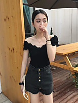 Women's Casual/Daily Sexy T-shirt,Solid Off Shoulder Short Sleeves Cotton