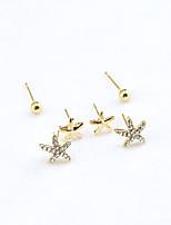 MOGE Women's Fashionable Cute Starfish Three-Piece Stud Earrings