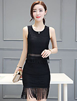 Women's Casual/Daily Simple Summer T-shirt Skirt Suits,Solid Round Neck Sleeveless