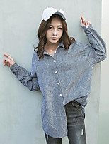 Women's Casual/Daily Simple Shirt,Striped Shirt Collar Long Sleeves Cotton Others