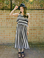 Women's Casual/Daily Simple Summer Blouse Pant Suits,Striped Strap Sleeveless
