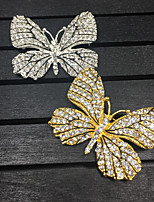 Women's Girls' Butterfly Brooches Bling Bling Alloy Animal Shape Rose Jewelry For Wedding Party Gift Daily Evening Party
