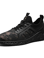 Men's Sneakers Comfort PU Fall Winter Athletic Casual Outdoor Gore Flat Heel Ruby Black/Gold Black Flat