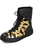 Men's Boots Fashion Boots Motorcycle Boots Synthetic Microfiber PU Fall Winter Casual Outdoor Office & Career Lace-up Flat HeelRuby
