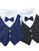 Dog Shirt / T-Shirt Dog Clothes Stylish Stripe Black Blue Costume For Pets
