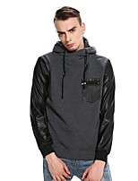 Men's Going out Casual/Daily Simple Hoodie Color Block Hooded Micro-elastic PU Cotton Long Sleeve Fall Winter