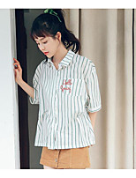 Women's Going out Simple Shirt,Solid Striped Shirt Collar Half Sleeves Cotton