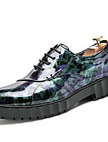 Men's Shoes Patent Leather Fall Winter Formal Shoes Oxfords For Casual Party & Evening Outdoor Office & Career Black Green