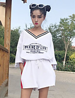 Women's Sports Simple Summer T-shirt Pant Suits,Letter Round Neck ¾ Sleeve