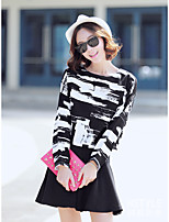 Women's Going out Casual/Daily Simple Summer T-shirt Skirt Suits,Print Round Neck ¾ Sleeve