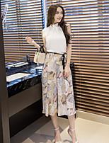 Damen Blatt Einfach Lässig/Alltäglich T-Shirt-Ärmel Hose Anzüge,Rundhalsausschnitt Sommer Ärmellos