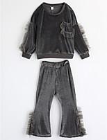 Ensembles Fille Couleur Pleine Coton Printemps Automne Manches longues Ensemble de Vêtements