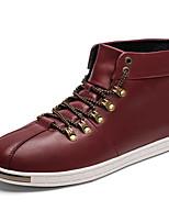 Men's Sneakers Comfort Spring Fall Microfibre Casual Outdoor Lace-up Flat Heel Wine Black Flat