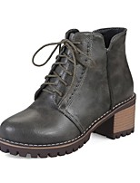 Women's Boots Comfort Bootie Leatherette Fall Winter Casual Dress Split Joint Lace-up Chunky Heel Green Brown Gray 2in-2 3/4in
