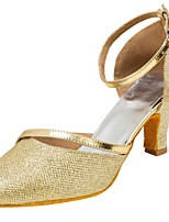 Damen Modern Glitzer Sandalen Aufführung Glitter Kubanischer Absatz Gold Silber 5 - 6,8 cm Maßfertigung