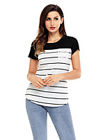 Women's Holiday Going out Casual/Daily Cute Spring Summer T-shirt,Striped Round Neck Short Sleeves Polyester Spandex Medium