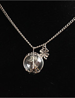 Women's Pendant Necklaces Round Four Leaf Clover Alloy Fashion Adorable Jewelry For Wedding Party Birthday Graduation Gift Daily
