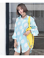 Women's Going out Simple T-shirt,Solid Polka Dot Shirt Collar Long Sleeves Cotton Polyester
