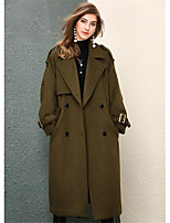Women's Casual/Daily Simple Fall Coat,Solid Shirt Collar Long Sleeve Long Cotton Polyester