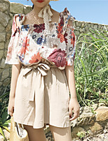 Women's Casual/Daily Simple Blouse,Floral Strap Short Sleeves Others