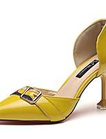 Damen High Heels Komfort Sommer PU Kleid Stöckelabsatz Gelb Grün Rosa 7,5 - 9,5 cm