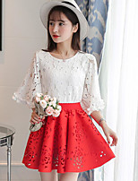 Women's Casual/Daily Simple Summer T-shirt Skirt Suits,Solid Round Neck ½ Length Sleeve